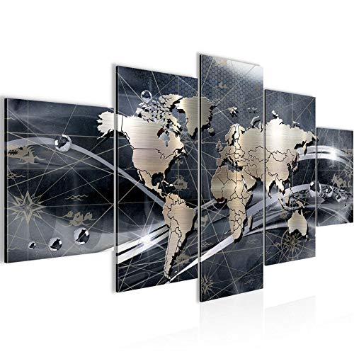 Bilder Weltkarte World map Wandbild Vlies - Leinwand Bild XXL Format Wandbilder Wohnzimmer Wohnung Deko Kunstdrucke Grau 5 Teilig - MADE IN GERMANY - Fertig zum Aufhängen 106853c