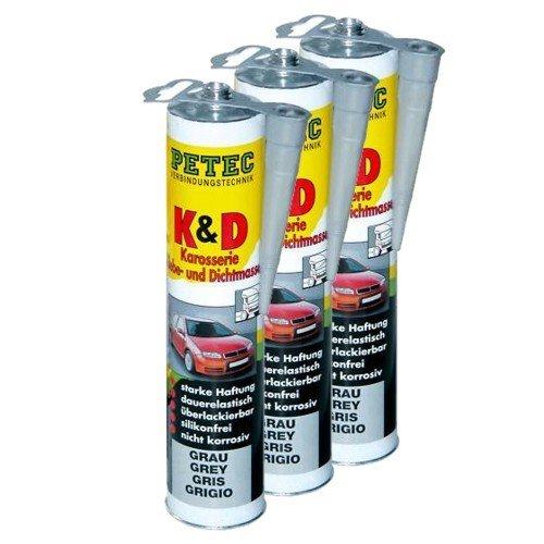 3x PETEC K&D Karosserie Klebe- und Dichtmasse Klebemasse Dichtmasse Karosseriekleber Klebstoff Kleber Kartusche 310ml grau