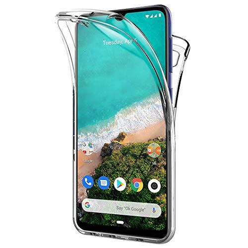Wanxideng Funda para Xiaomi Mi A3, 360 Grados Protección Diseñada, Transparente Ultrafino Silicona TPU Frente y PC Back Carcasa Belleza Original Funda de Doble Protección - Transparente
