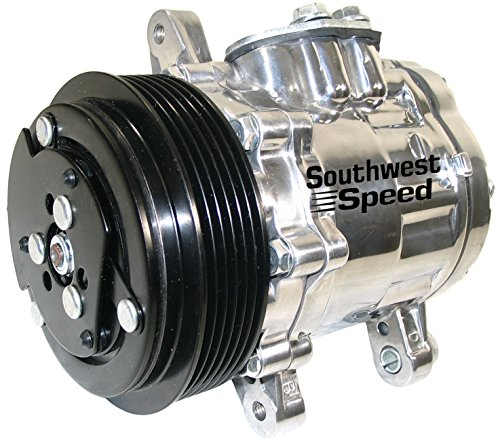NEW SOUTHWEST SPEED POLISHED SANDEN SD-7B10 VINTAGE AIR CONDITIONER COMPRESSOR WITH 6 GROOVE SERPENTINE PULLEY, R-134A REFRIGERANT, PAG 100 OIL, SWING MOUNT, 12 VOLT