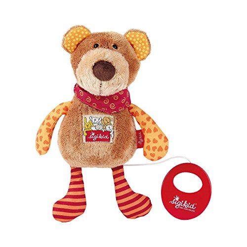 Sigikid Peluche Musicale Ourson Collection Red Stars 23 cm Peluche Peluche, Marron