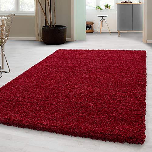 Hochflor Shaggy Teppich für Wohnzimmer Langflor Pflegeleicht Schadsstof geprüft 3 cm Florhöhe Oeko Tex Standarts Teppich, Maße:60x110 cm, Farbe:Rot