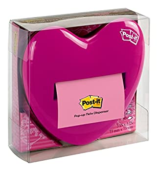 Post-it Pop-up Notes Dispenser for 3 x 3-Inch Notes Pink Heart Shape