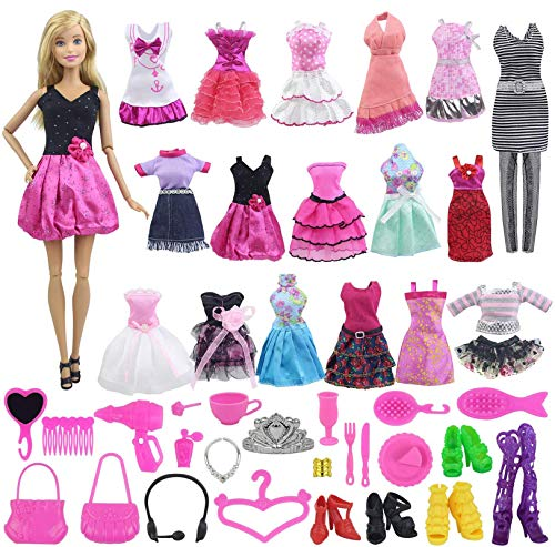 Ecore Fun 55 Item = 5 Pcs Dresses Casual Wear Outfits + 50 Pcs Different Accessories for 11.5 Inch Girl Doll