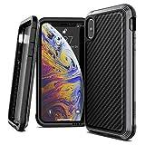 X-Doria iPhone X Case, Defense Lux - Military Grade Drop Tested, Anodized Aluminum, TPU, and Polycarbonate Case for Apple iPhone X, [Black Carbon Fiber]