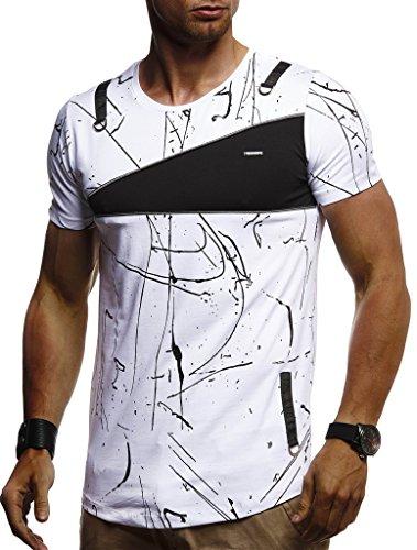 Leif Nelson Herren Sommer T-Shirt Rundhals-Ausschnitt Slim Fit Baumwolle-Anteil Moderner Männer T-Shirt Crew Neck Hoodie-Sweatshirt Kurzarm lang LN920 Weiß Medium