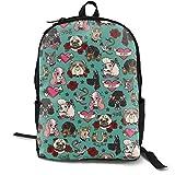 Tattoo Dogs- Teal Adult Premium Travel Backpack, Water-Resistant College School Bookbag, Sport Daypack, Outdoor Rucksack, Laptop Bag for Men&Women