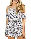 YOINS - Pijama Corto para mujer cuello en V cintura elástica 02 Floral ~ Blanco S