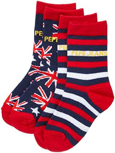 Pepe Jeans Underwear Jungen Socken EMILIO, 2er Pack, Gr. 33-36 (Herstellergröße: 32/35), Mehrfarbig (Union Jack/Stripe 0AA)