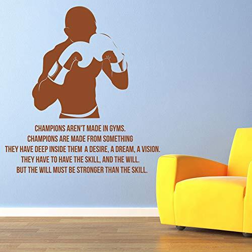 YuanMinglu Boxhandschuhe Herren Champion Vinyl Wandaufkleber ist in der Turnhalle Boxverein Dekoration 50.4 cm x 54 cm Nicht abnehmbar
