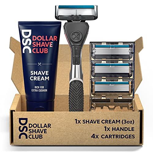 Dollar Shave Club 6-Blade Razor Starter Set, 1 Handle, 4x6-Blade Cartridges, 3oz Shave Cream, Silver/Blue