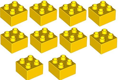 LEGO DUPLO - 10 Steine mit 2x2 Noppen in gelb