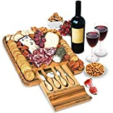 Bamboo Cheese Board and Knife Set - Wood Charcuterie Board Set - Serving Meat & Cheese Board with...