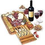 Bamboo Cheese Board and Knife Set - Wood Charcuterie Board Set -...