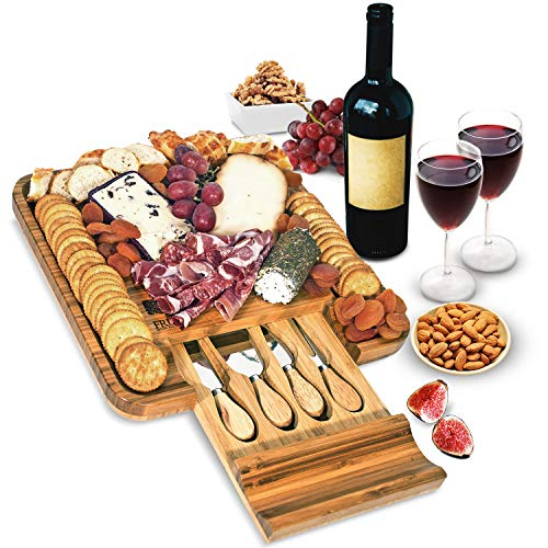 Bamboo Cheese Board and Knife Set, Wood Charcuterie Platter and Serving Meat & Cheese Board with Slide-Out Drawer for Cutlery, 4 Stainless Steel Knives and Server Set