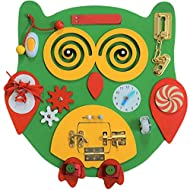 Sensory4u Owl Sensory Activity Busy Board - Montessori Experience - Quiet Play Latches Tying Spinning Buttoning