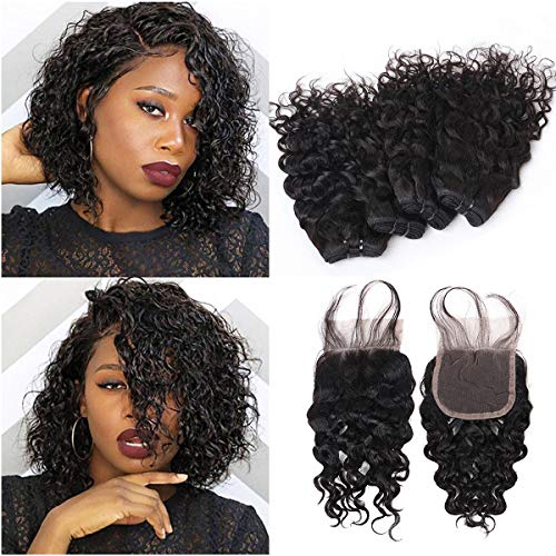 FASHION LINE Brazilian Water Wave 4 Bundles with Lace Closure, Unprocessed Ocean Wave Wet and Wavy Hair Bundles with Closure, Water Curly Human Hair Extensions(8/8/8/8+8)