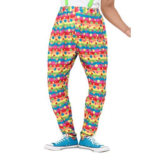 NET TOYS Neon Clown-Hose mit Punkten | Größe XL (56/58) | Schrilles Männer-Outfit Bunte Pumphose | Genau richtig für Fasching & Karneval