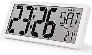 "TXL 15.4"" Jumbo Digital Alarm Clock Battery Operate Extra Large LCD Display 4.6"" Bold Font Calendar, 12/24 Mode Temperatur..."