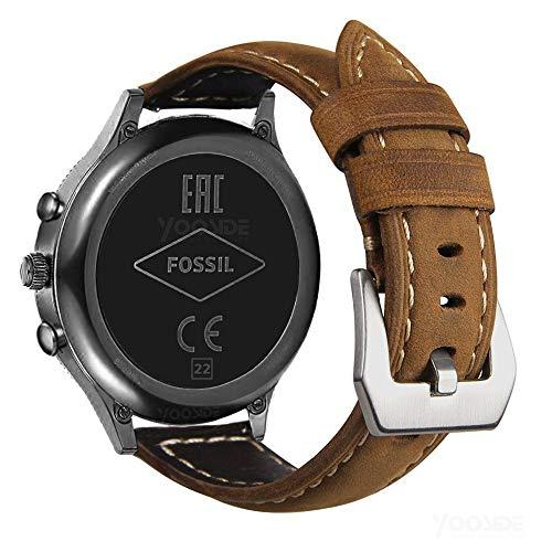 YOOSIDE for Fossil Explorist Lederband Armbänder, 22mm echtes Leder mit Edelstahl Schnalle Ersatzarmband Uhrenarmband für Fossil Gen 4/3 Explorist HR,Herren Gen 4 Sport,Huawei Watch GT (Braun)