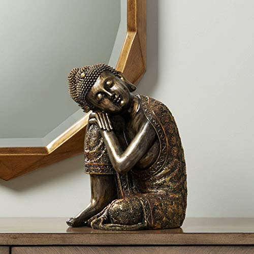 Universal Lighting and Decor Brushed Gold 14 1/2' High Sleeping Buddha Statue - Kensington Hill