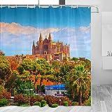 Spain Palma Mallorca Catedral Cortina de Ducha Viaje Decoración de Baño Set Con Ganchos Poliéster 72x72 Pulgadas (YL-05397)