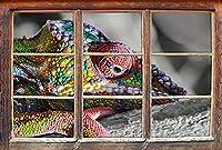 KAIASH ウォールステッカーマダガスカルのカメレオン3Dルックの詳細ウィンドウ壁またはドアのステッカー壁のステッカー壁のステッカー壁の装飾62x42cm