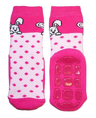 Weri Spezials Baby Voll-ABS Socke Hase+Punkte Motiv in Rosa Gr.19-22 (12-24 Monate)