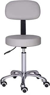 Kaleurrier Rolling Swivel Adjustable Heavy Duty Drafting Stool Chair for Salon,Medical,Office and Home uses,with Wheels and Back (Grey)