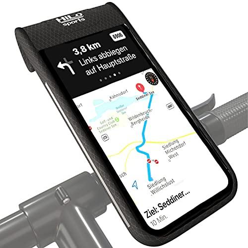 HiLo sports Fahrrad Handyhalterung wasserdicht - Für Handys bis 7 Zoll - 360° einstellbare Smartphone Tasche Lenker - Lenkertasche Handy mit festem Halt - Handytasche Lenker schwarz (Standard)