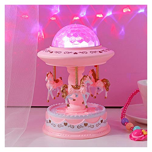 HJHJ Caja de música Creativa Caja de música Regalo Estrella Proyección Linterna Caja de música Merry-go-Round Caja de música Star Sky Lámpara de Noche para (tamaño : Pink M)