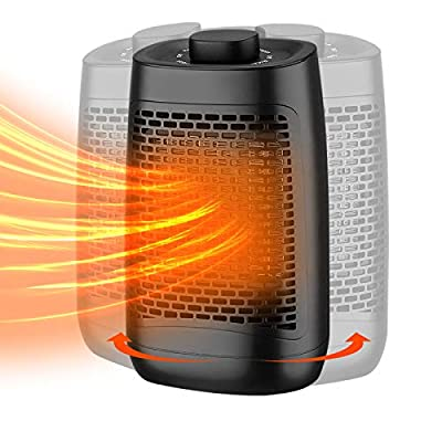 Electric Space Heater, Adjustable Thermostat and Overheat Protection Ceramic Space Heater, Personal Heater with Carrying Handle, Super Fast Heater for Desk, Office, Home, Bedroom