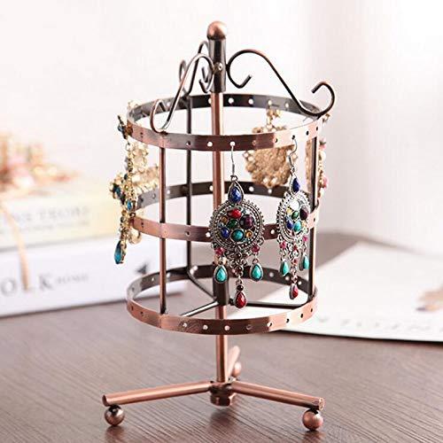 MUY Nuevo Soporte para Pendientes Soporte de exhibición de joyería Soporte de exhibición de joyería Giratorio de Metal Caja de Recuerdo de Pascua para Mujeres
