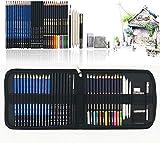41 Piezas Set Dibujo Artistico Con Lapices Acuarelables, Lapices De Dibujo, Lapiz Grafito En Cartuchera Lapices para Colorear Libros Y Páginas, El mejor regalo para estudiantes, niños