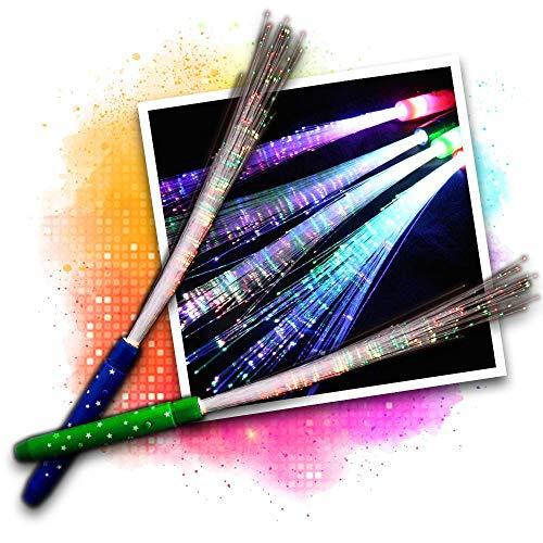 Eventlights Leuchtwedel Multicolor 3 STK. - LED Leuchtstab mit Glasfasern - Hochzeit, Party, Disko, Konzert