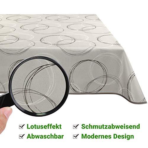 Valia Home Tischdecke Tischtuch Tafeldecke schmutzabweisend wasserabweisend Lotuseffekt pflegeleicht eckig in verschiedenen Größen und Designs (Beige, 130 x 160 cm)