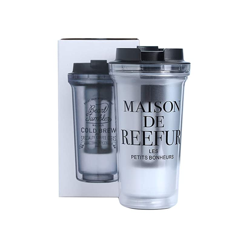 14oz/400ml Water Bottle Travel Tumbler Mug Cup Flask with Lid Vacuum Insulated Double Wall Removable Filter Tube Coffee Tea Home Office Car