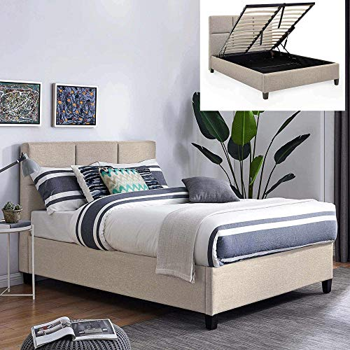 Mobilier Deko-Bett mit Bettkasten, modern, Stoff, Beige, mit Lattenrost, 160 x 200 cm, Lara