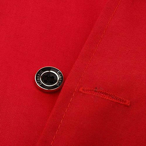 P Prettyia Atmungsaktive Kurzarm Kochjacke Backjacke Kochkleidung Koch Gastronomie Berufsbekleidung Arbeitskleidung für Restaurant Gastronomie – Rot, 2XL - 7