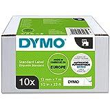 DYMO D1-Etikettenband Authentisch | schwarzer Druck auf weißem Untergrund | 12mm x 7m | selbstklebendes Schriftband | für LabelManager-Beschriftungsgerät | 10Etiketten
