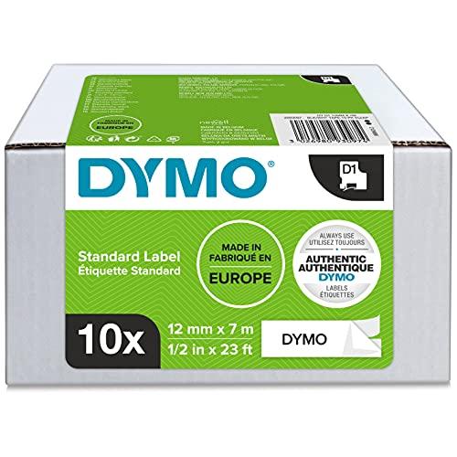 DYMO D1-Etikettenband Authentisch   schwarzer Druck auf weißem Untergrund   12mm x 7m   selbstklebendes Schriftband   für LabelManager-Beschriftungsgerät   10Etiketten