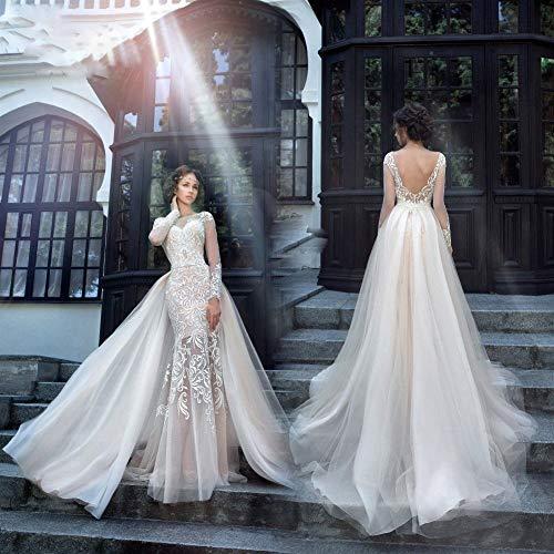 WANGMEILING Bruidsjurk Chique Tuxedo Jurk Prachtig Borduurwerk Ronde hals 2 In 1 Afneembare Bruidsjurk Op maat gemaakte maat trouwjurken
