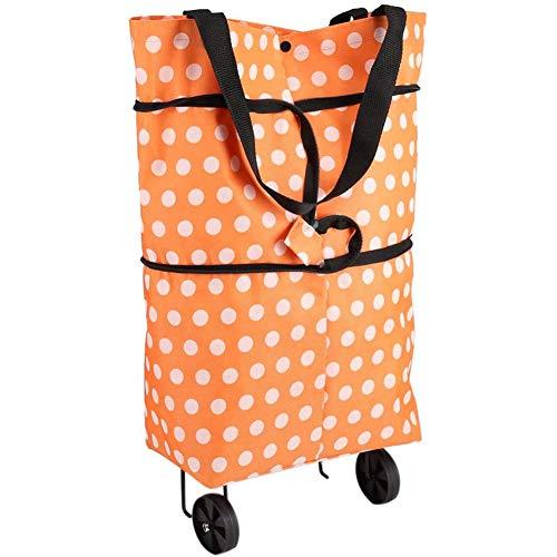 YCX Rollende Einkaufstasche Oxford Tuch Faltbare Rad Einkaufstasche,Leichte Strapazierfähige Doppelzweck Tote Schulter Trolleys(Orange),Orange