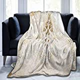 FORCUTER Flannel Fleece Blanket Throws Cowhide White-Gold Metallic Acid Wash Print Twin Size Soft Luxury Warm Cozy Lightweight Fluffy Decorative Couch Bed