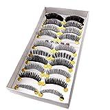 LTop eyelash10 Pairs Black Natural False Eyelashes Eye Lashes 8mm Length for Makeup by LTop eyelash