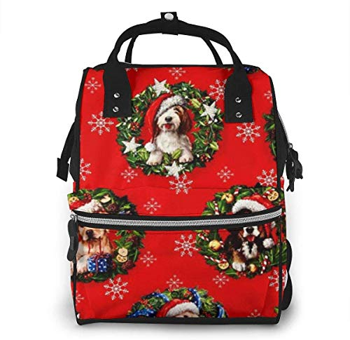 Kaufman Christmas Pets Puppies Diaper Backpack Large Capacity Baby Bags Multi-Function Zipper Casual Travel Backpacks for Mom Dad Unisex