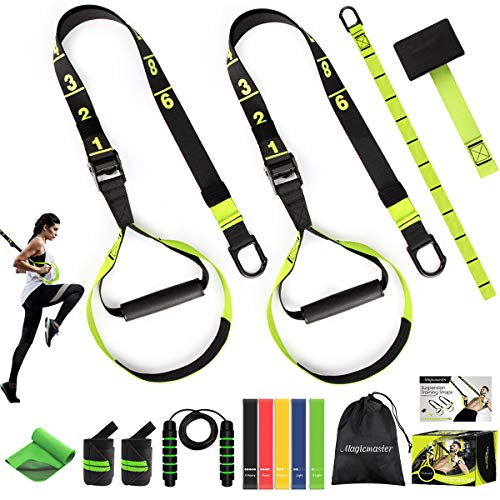 Bodyweight Resistance Training Straps Workout Suspension Trainer Kit Complete Home Gym Fitness Resistance Trainer - Door Anchor Extension Strap Exercise Loop Bands Jump Rope Cooling Towel Wrist Wraps