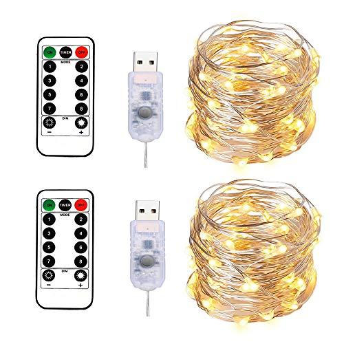 BXROIU 2 x 100LEDs Lichterkette im 10M Silbernedraht USB-Anschluss mit Fernbedienung 8 Programm und Zeitwahl Dimmen (Warmweiß)