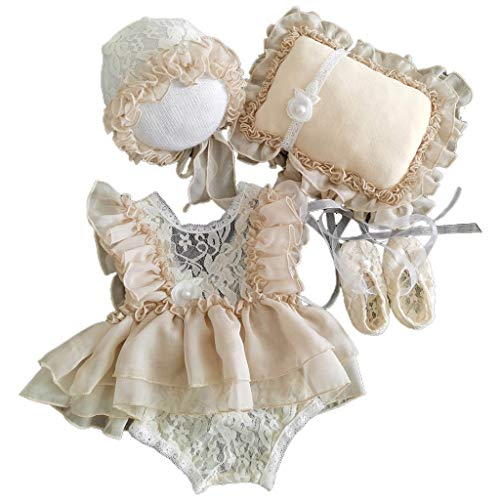 Xurgm 5 piezas / Set de gorro para bebé + almohada + pelele + zapatos + gorro para Newborn Photography Prop