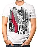 OM3® - Poland-Soccer-Girl - Herren T-Shirt EM 2020 Fußball Trikot Sexy Frau Polen Polska Vintage Weiß XL
